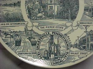 """Walnut Street,"" a detail from the Sharpsville centennial plate (currently listed on eBay)."